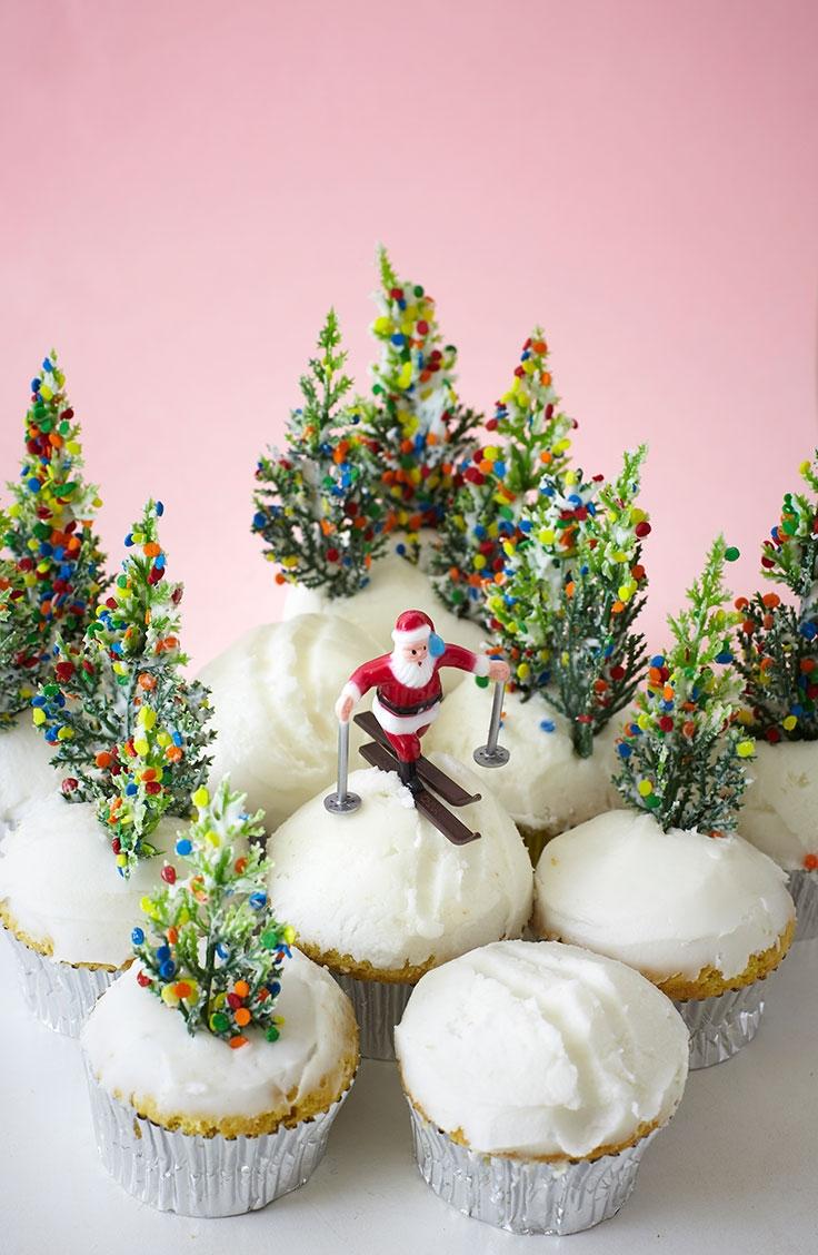 Santa skiing down cupcake slopes