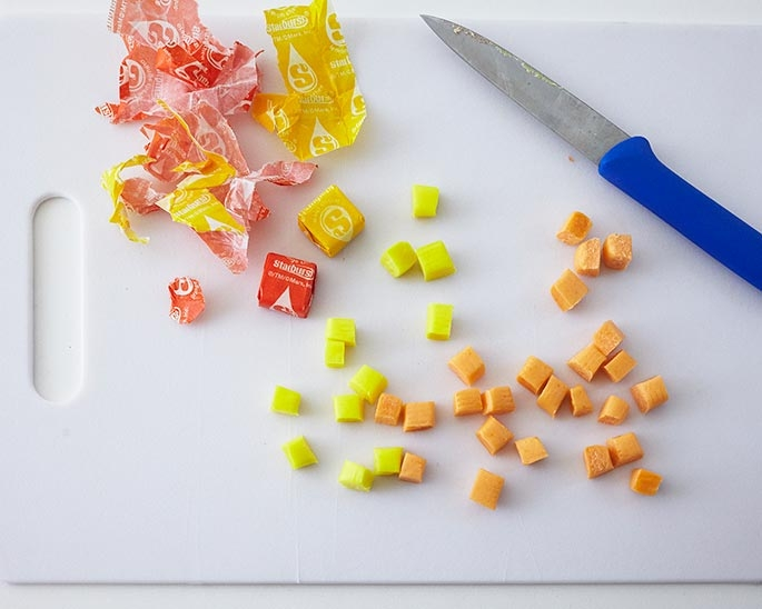 Making Peas and Corn out of Starburst Candies