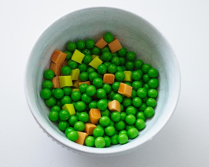 Green Sixlets and Starburst Peas, Corn and Carrots